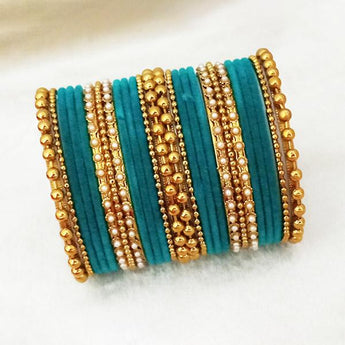 Sejal Gold Plated Blue Velvet Bangle Set - 1403741H_2.4