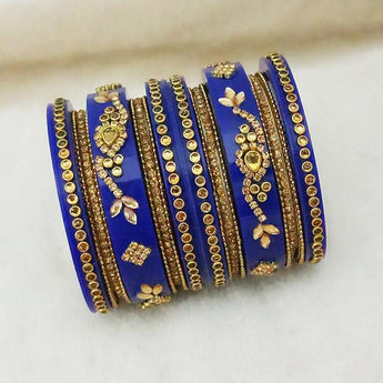 Sejal Gold Plated Blue Austrian Stone Bangle Set - 1403742B_2.4
