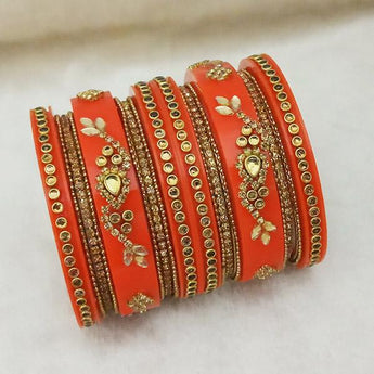 Sejal Gold Plated Orange Austrian Stone Bangle Set - 1403742C_2.4