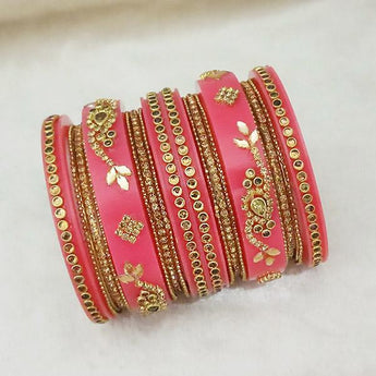 Sejal Gold Plated Pink Austrian Stone Bangle Set - 1403742D_2.4