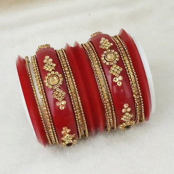 Sejal Gold Plated Maroon Austrian Stone Bangle Set - 1403744_2.4