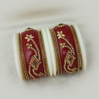 Sejal Gold Plated Maroon Austrian Stone Bangle Set - 1403745_2.4