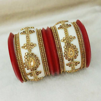 Sejal Gold Plated White Austrian Stone Bangle Set - 1403746_2.4