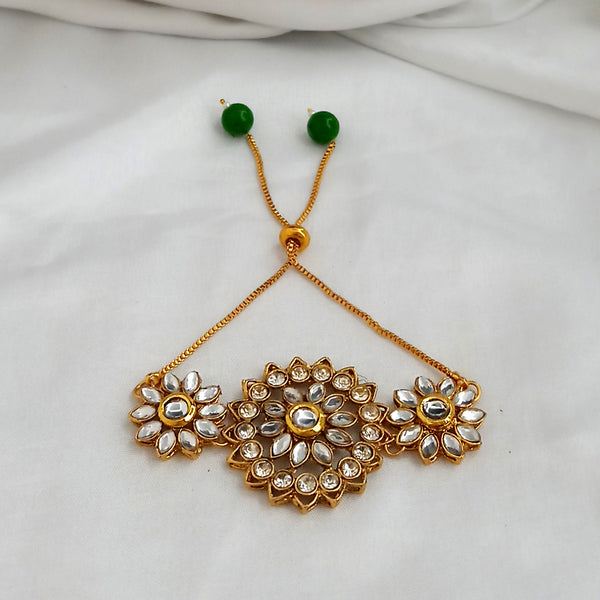 Kriaa Gold Plated White Kundan Adjustable Bracelet