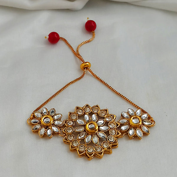Kriaa Gold Plated Brown Austrian Stone And Kundan Adjustable Bracelet