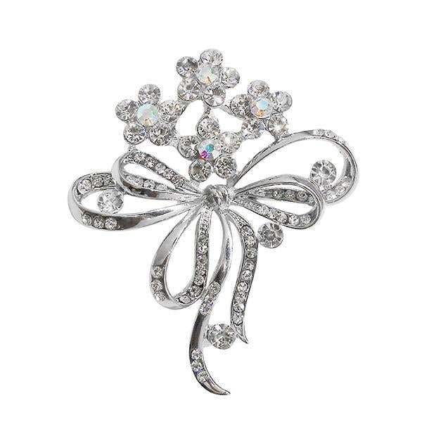 Kriaa White Austrian Stone Silver Plated Saree Pin Brooch  - 1500232