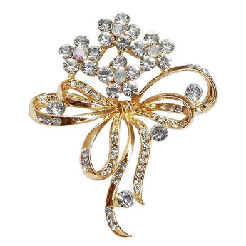 Kriaa White Austrian Stone Gold Plated Saree Pin Brooch  - 1500238