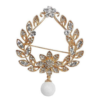 Kriaa White Austrian Stone Gold Plated Saree Pin Brooch  - 1500239