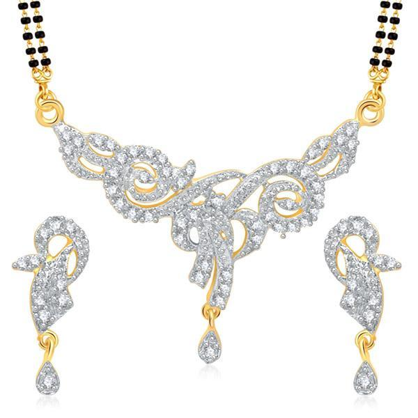 Kriaa Austrian Stone Black Beads Gold Plated Mangalsutra