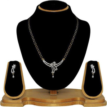 Tip Top Fashions AD Stone Black Beads Mangalsutra - 1500616