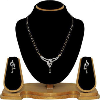 Tip Top Fashions AD Stone Black Beads Mangalsutra Set - 1500617