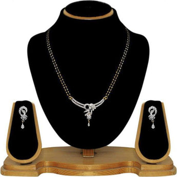 Tip Top Fashions AD Stone Black Beads Mangalsutra Set - 1500618