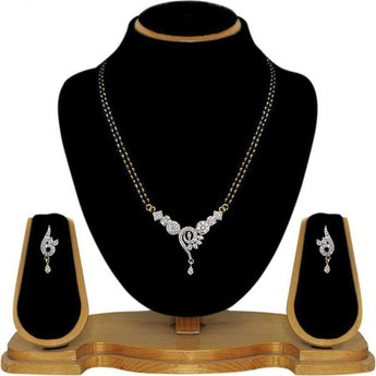 Tip Top Fashions AD Stone Black Beads Mangalsutra Set - 1500620