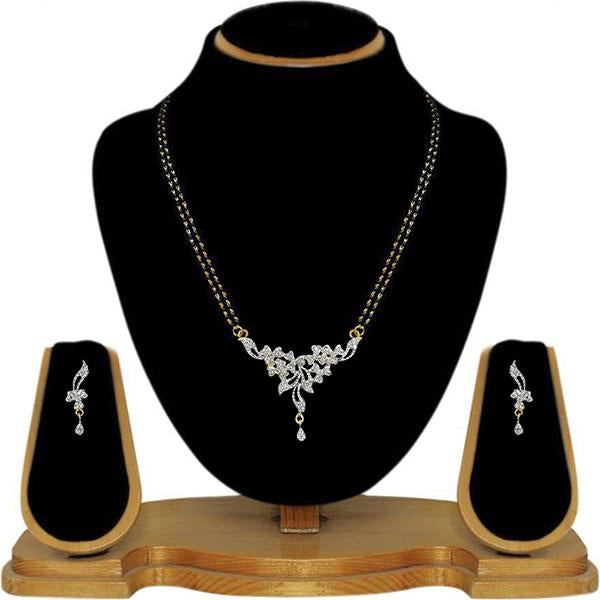 Tip Top Fashions AD Stone Black Beads Mangalsutra Set - 1500621