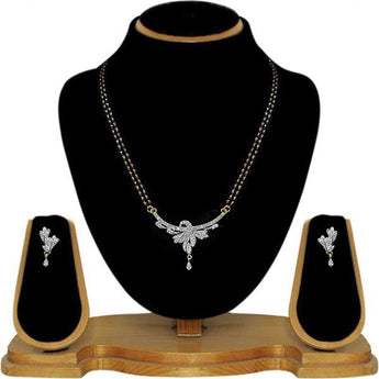 Tip Top Fashions AD Stone Black Beads Mangalsutra Set - 1500623