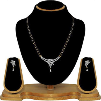 Tip Top Fashions AD Stone Black Beads Mangalsutra Set - 1500624