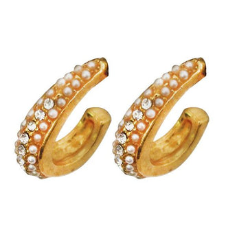 Kriaa Gold Plated Austrian Stone Stud Earrings - 1501327