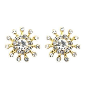 Kriaa White Austrian Stone Gold Plated Stud Earrings - 1501328