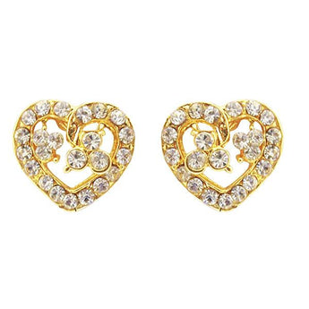 Kriaa Gold Plated Austrian Stone Stud Earrings - 1501332