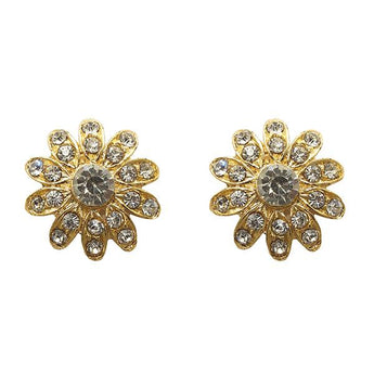 Kriaa Gold Plated Austrian Stone Stud Earrings - 1501349