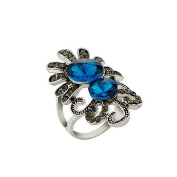 Urthn Blue Stone Silver Plated Ring - 1501860_16