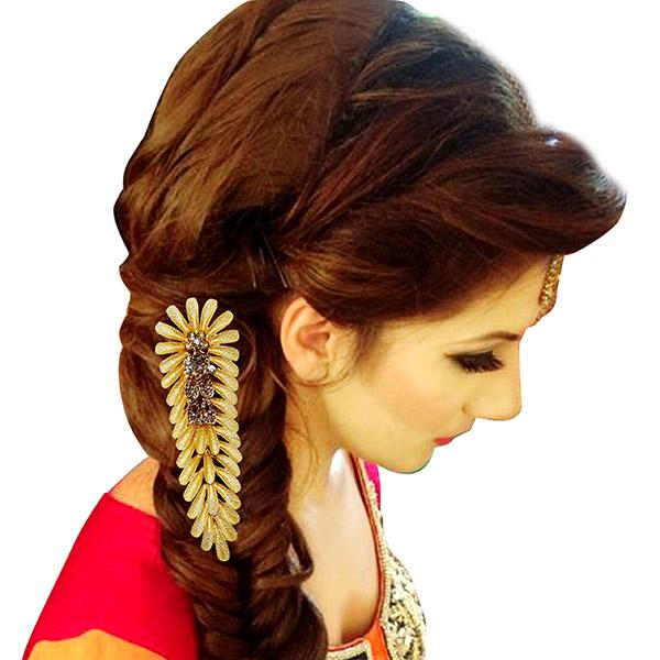 Apurva Pearl Leaf Design Gold Plated Hair Brooch - 1502021B