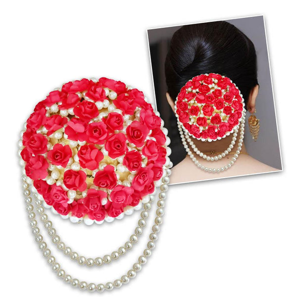 Apurva Pearls Red Floral Pearl Hair Brooch - 1502272