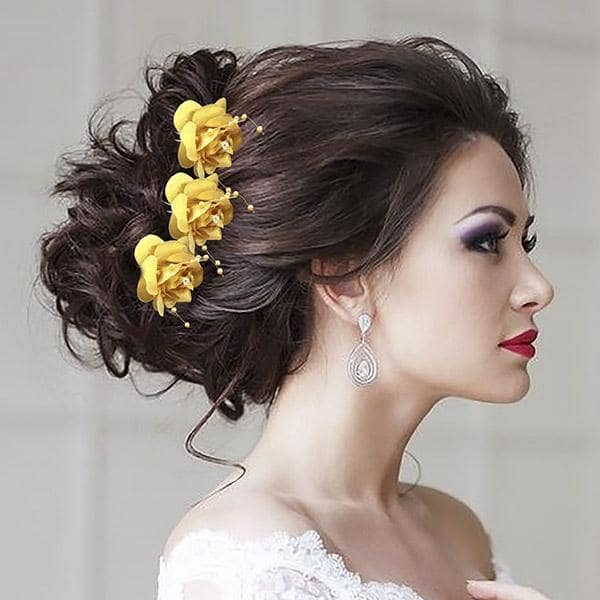 Tip Top Fashions Yellow Floral Hair Brooch - 1502286