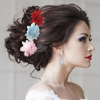 Tip Top Fashions Multicolor Floral Hair Brooch - 1502288