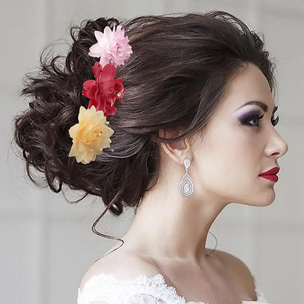 Tip Top Fashions Multicolor Floral Hair Brooch - 1502291