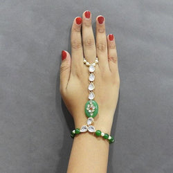 Tip Top Fashions White Kundan Stone Gold Plated Hand Harness - 1502326H