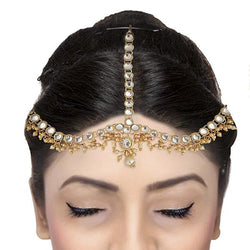 Soha Fashion Crystal And Pearl Stone Gold Plated Maang Tikka - 1502518