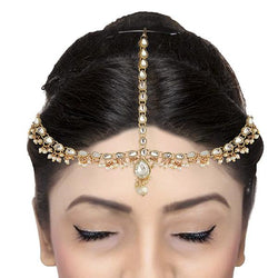 Tip Top Fashions Crystal And Pearl Stone Gold Plated Maang Tikka - 1502521