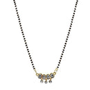 Kriaa Austrian Stone And Kundan Black Beads Mangalsutra -1503026