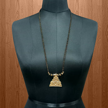Kriaa Black Beads Gold Plated Mangalsutra - 1503032