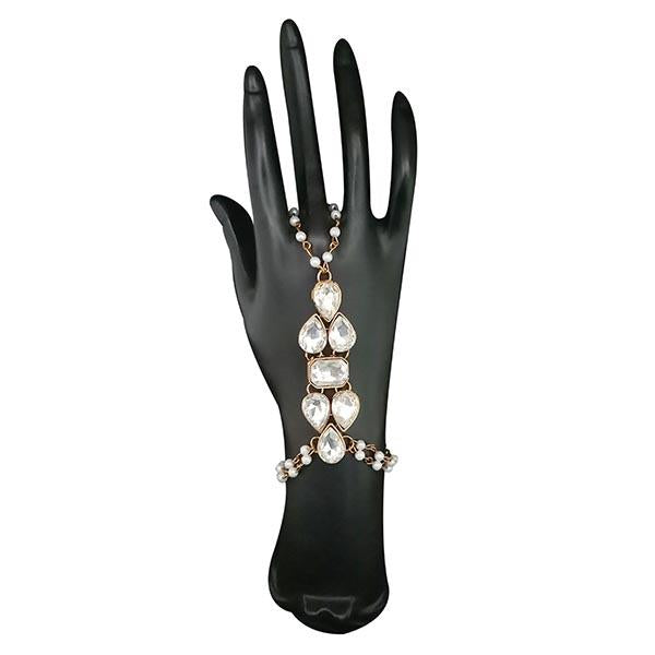 Urthn Austrian Stone Pearl Gold Plated Hand Harness