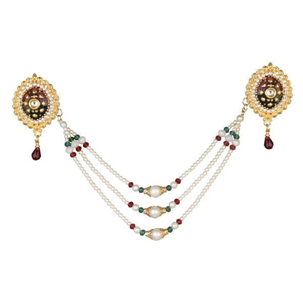 Tip Top Fashions Meenakari Gold Plated Pearl Chain Kamarband - 1503413