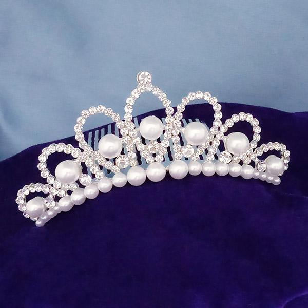 Kriaa White Austrian Stone And Pearl Silver Plated Half Crown