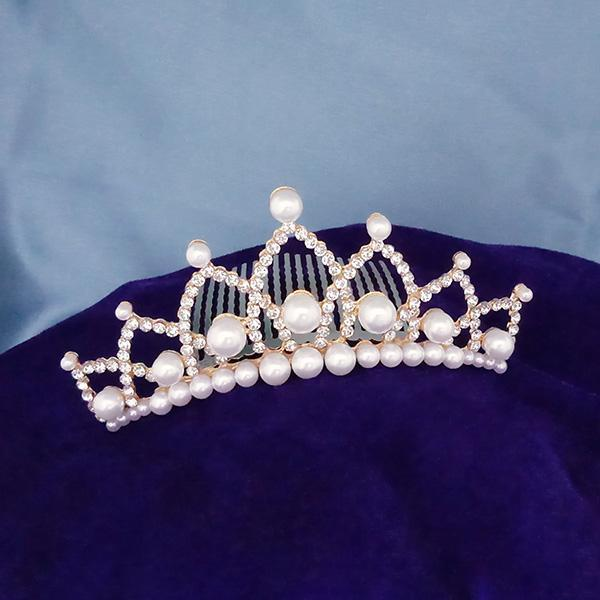 Kriaa White Austrian Stone And Pearl Gold Plated Half Crown