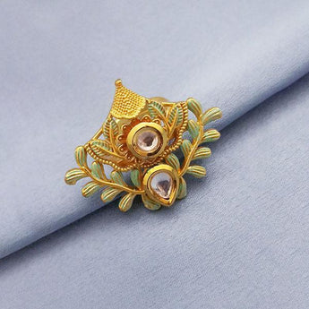Kriaa AD Stone Adjustable Copper Ring - 1504723
