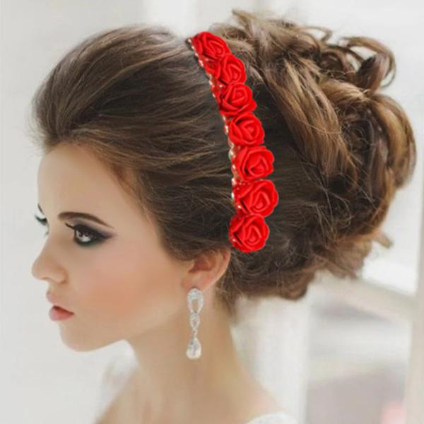 Tip Top Fashions Red Floral Hair Brooch - 1505301A