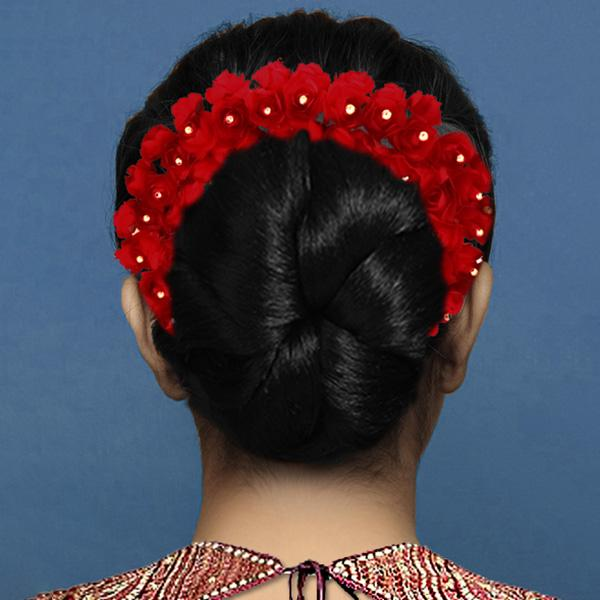 Tip Top Fashions Red Floral Hair Brooch - 1505303A