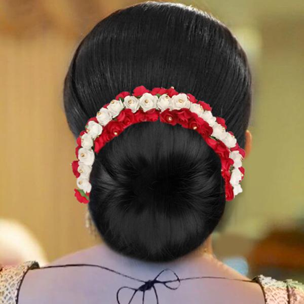 Apurva Pearls Red And White Floral Hair Brooch