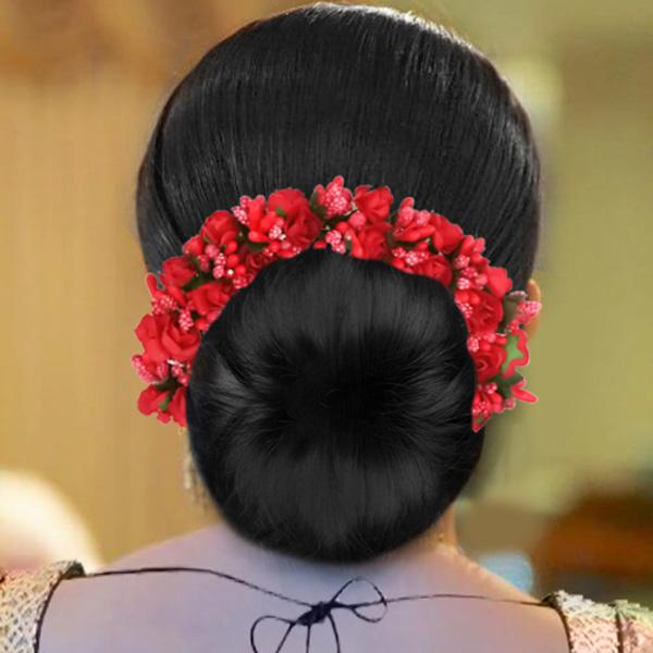 Tip Top Fashions Red Floral Hair Brooch - 1505304B