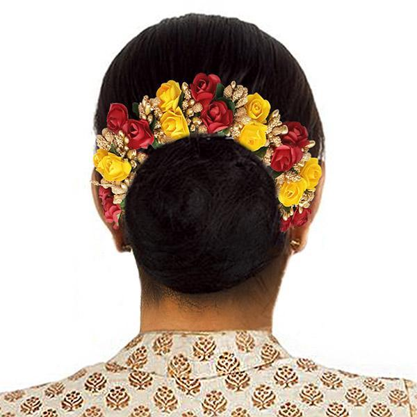 Apurva Pearls Red And Yellow Floral Hair Brooch - 1505304E