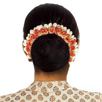 Apurva Pearls Red And White Floral Hair Brooch - 1505305