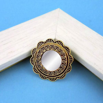 Jeweljunk Antique Gold Plated Mirror Adjustable Finger Ring - 1505502A