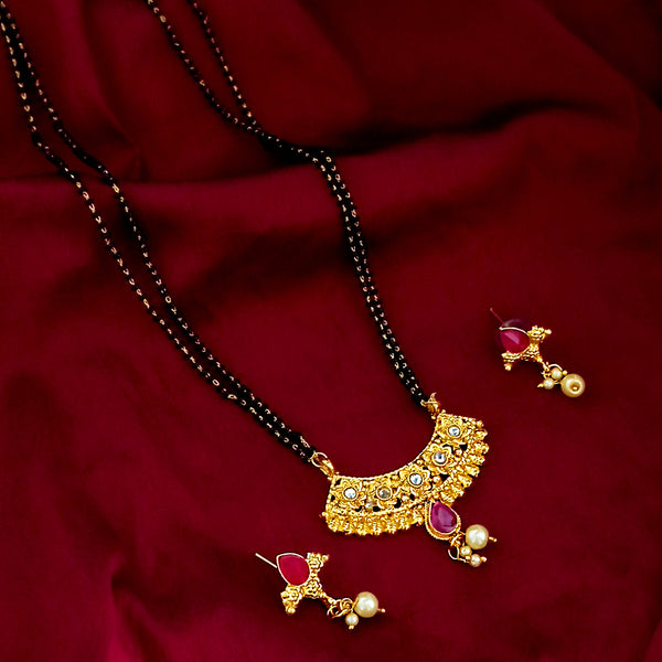 Kriaa Gold Plated Austrian Stone Mangalsutra With Earrings