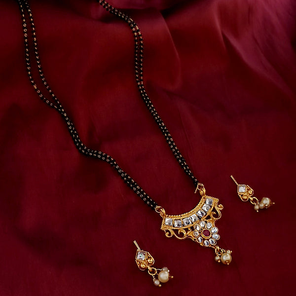 Kriaa Gold Plated Mangalsutra With Earrings