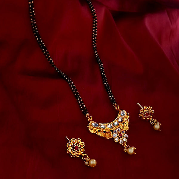 Kriaa Gold Plated Kundan Pearl Drop Mangalsutra With Earrings